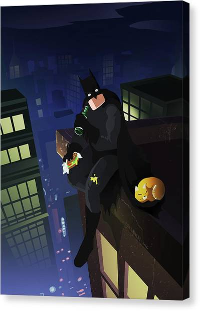 Cheesburger Canvas Print - Batman, The One And Only by Michel Chabaneau