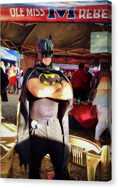 University Of Mississippi Ole Miss Canvas Print - Batman Visits The Grove by JC Findley
