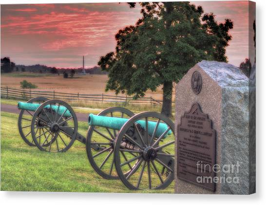Army Of The Potomac Canvas Print - Battery F Cannon Gettysburg Battlefield by Randy Steele