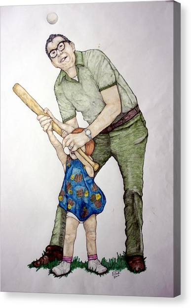 Batting Practice No 1 Canvas Print by Edward Ruth