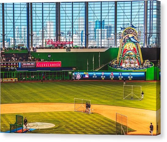 Miami Marlins Canvas Print - Batting Practice by Pixabay