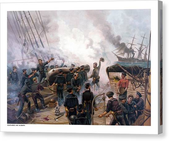 Ships Canvas Print - Battle Between Kearsarge And Alabama by War Is Hell Store