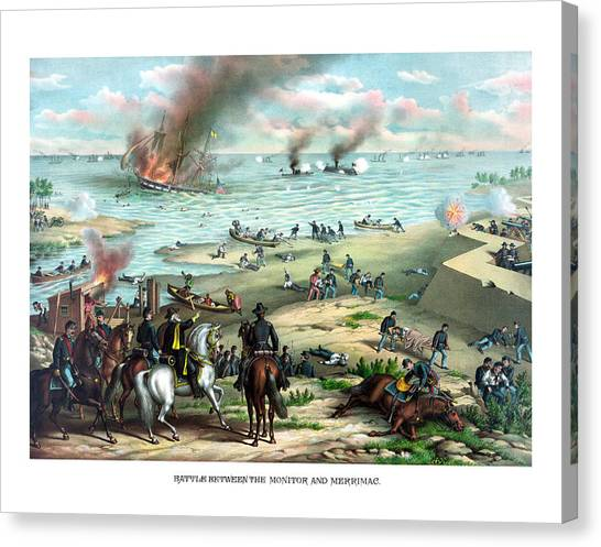 Confederate Canvas Print - Battle Between The Monitor And Merrimac by War Is Hell Store