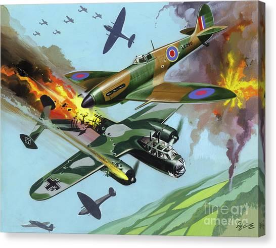 Luftwaffe Canvas Print -  Battle Of Britain  by Ron Embleton