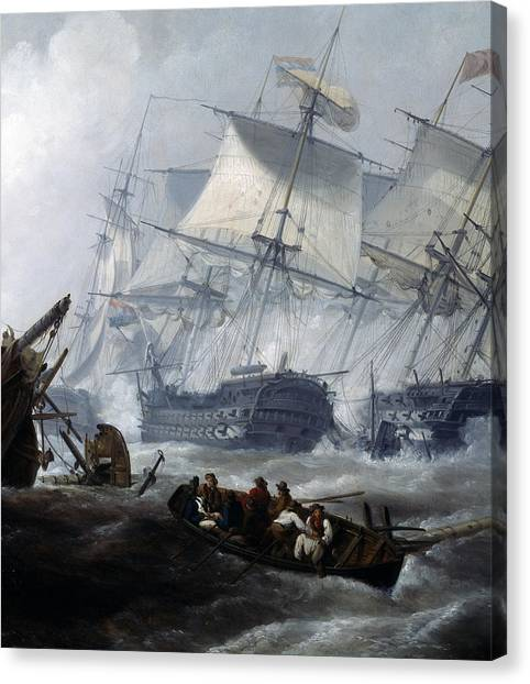 Royal Marines Canvas Print - Battle Of Camperdown by George the elder Chambers