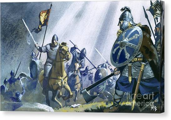 Axes Canvas Print - Battle Of Hastings by Angus McBride