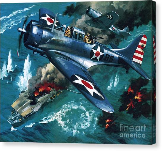 Wii Canvas Print - Battle Of Midway by Wilf Hardy