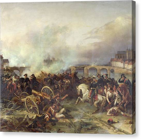 1870 Canvas Print - Battle Of Montereau by Jean Charles Langlois