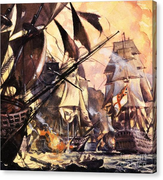 Royal Marines Canvas Print - Battle Of Trafalgar by English School