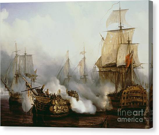 Fighting Canvas Print - Battle Of Trafalgar by Louis Philippe Crepin