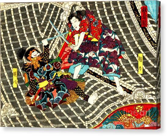 Battle On Horyu Tower 1850 Canvas Print