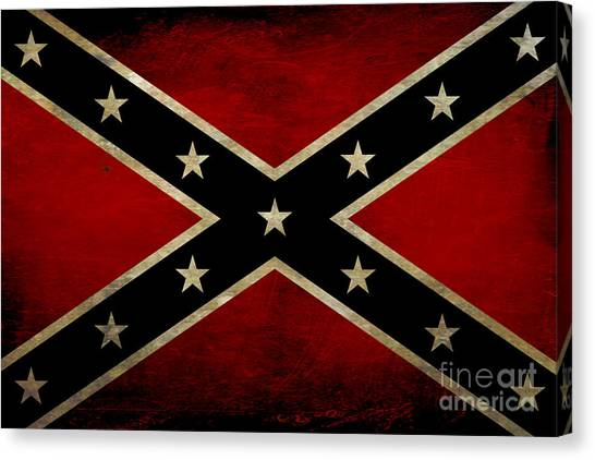 Confederate Canvas Print - Battle Scarred Confederate Flag by Randy Steele