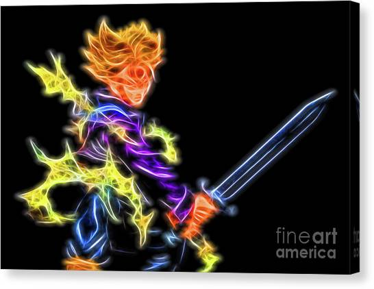 Canvas Print featuring the digital art Battle Stance Trunks by Ray Shiu