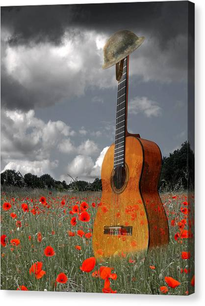 Classical Guitars Canvas Print - Battlefield Blues - Guitar In Poppy Field by Gill Billington