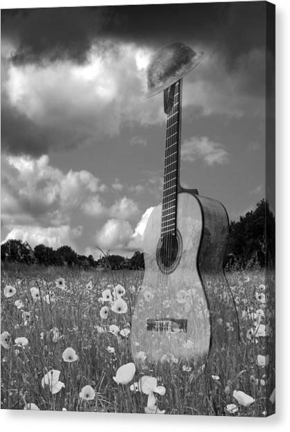 Classical Guitars Canvas Print - Battlefield Blues In Black And White - Guitar In Poppy Field by Gill Billington