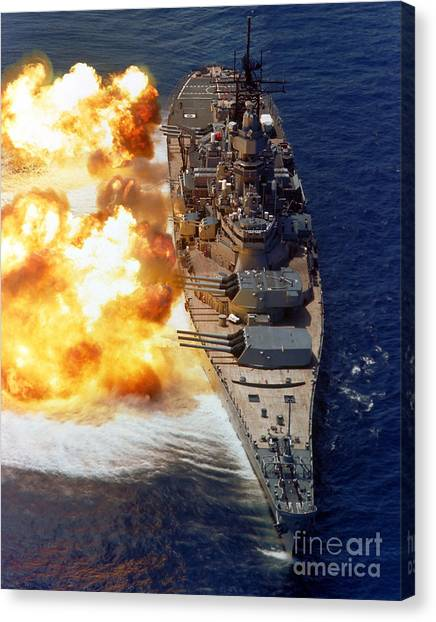Canvas Print featuring the photograph Battleship Uss Iowa Firing Its Mark 7 by Stocktrek Images