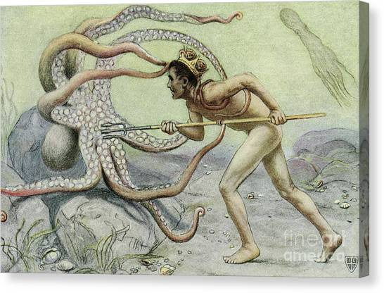 Neptune Canvas Print - Battling The Great Octopus Scene From The Great Sea Horse by John Elliot
