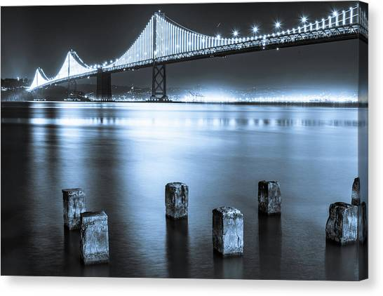 Bay Bridge 1 In Blue Canvas Print