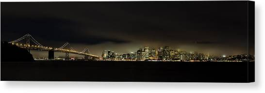 Panorama Canvas Print - Bay Bridge San Francisco by C.s.tjandra