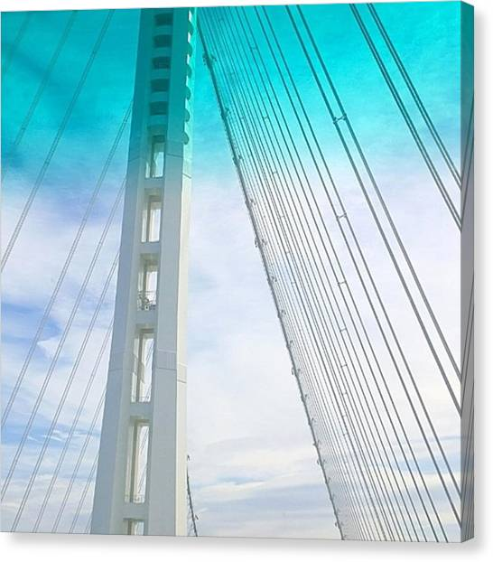 Urban Canvas Print - Bay #bridge Section. Love The Aqua Tint by Shari Warren