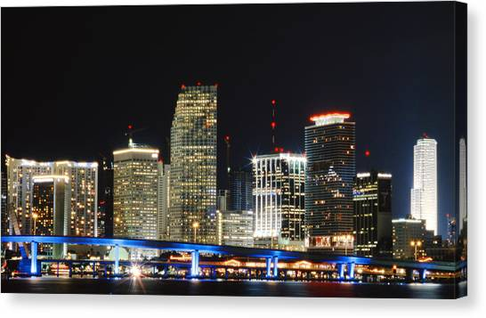 Bay Front Miami Skyline Canvas Print