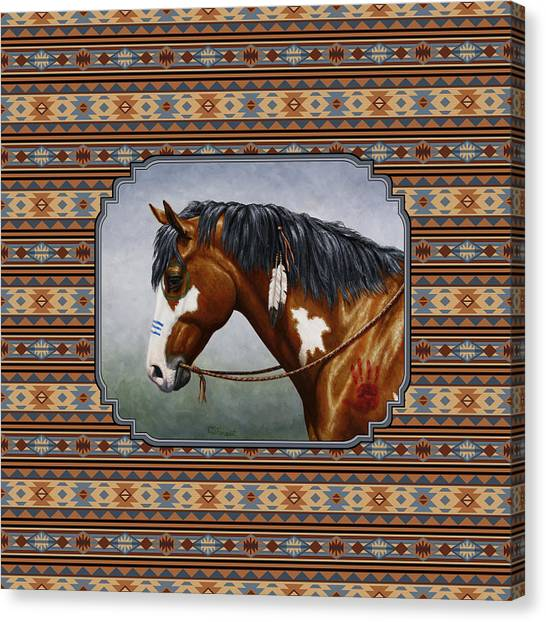 War Horse Canvas Print - Bay Native American War Horse Southwest by Crista Forest