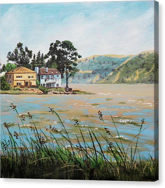 Bay Scenery With Houses Canvas Print
