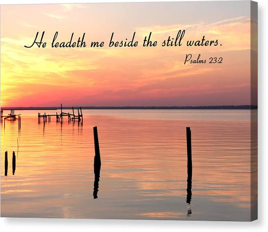 Bay Sunset Still Waters Psalm Canvas Print