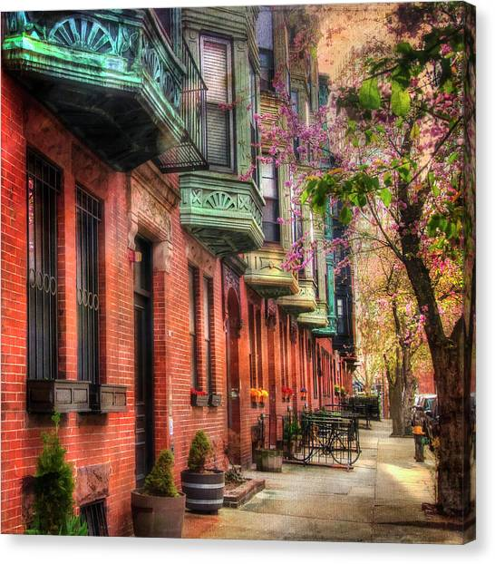 Bay Village Brownstones And Cherry Blossoms - Boston Canvas Print