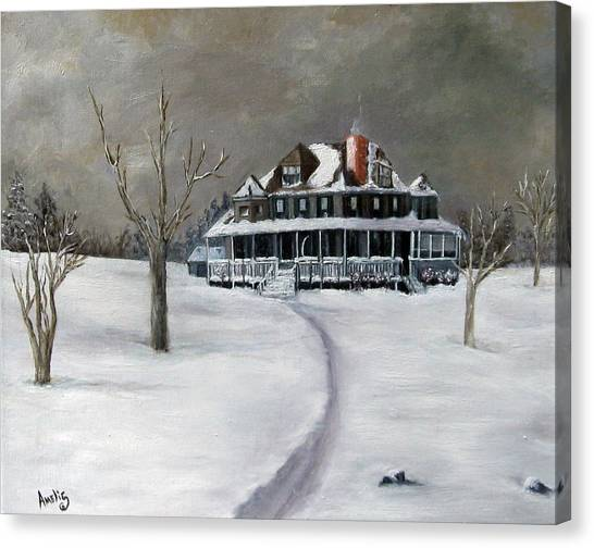 Bayberry Cottage Canvas Print by Amelie Gates