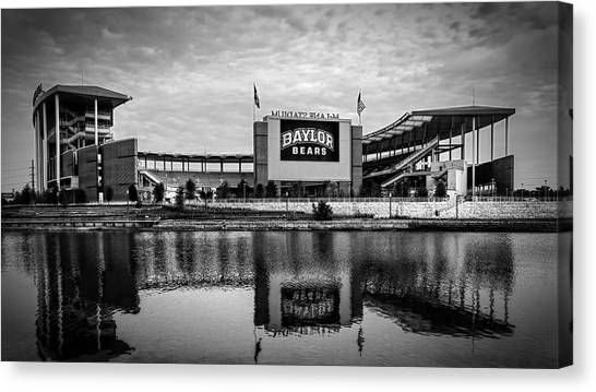 Baylor University Canvas Print - Baylor Bears Mclane Stadium Bw by Joan Carroll