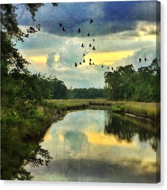 Bayous Canvas Print - Bayou Reflections #distressedfx #sky by Joan McCool