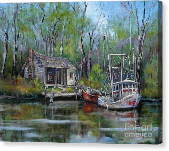Shrimping Canvas Print - Bayou Shrimper by Dianne Parks