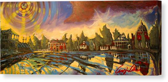 Canvas Print featuring the painting Bayou St John New Orleans by Amzie Adams
