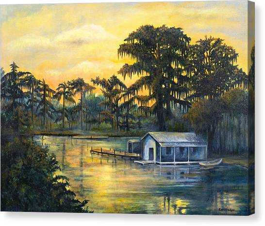 Bayous Canvas Print - Bayou Sunset by Elaine Hodges
