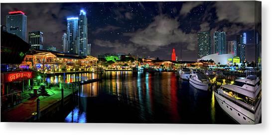 Bayside Miami Florida At Night Under The Stars Canvas Print