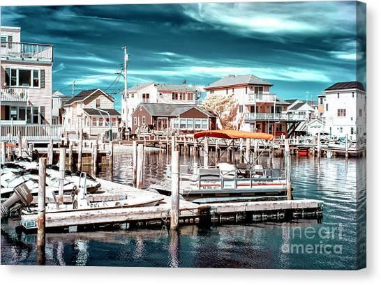 Jet Skis Canvas Print - Bayside Neighborhood At Long Beach Island Infrared by John Rizzuto