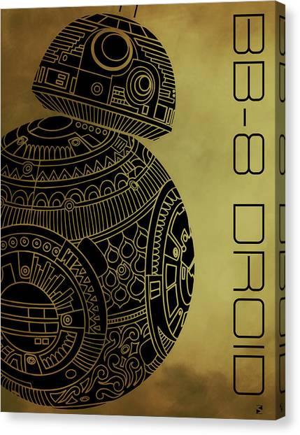 Droid Canvas Print - Bb8 Droid - Star Wars Art - Brown by Studio Grafiikka
