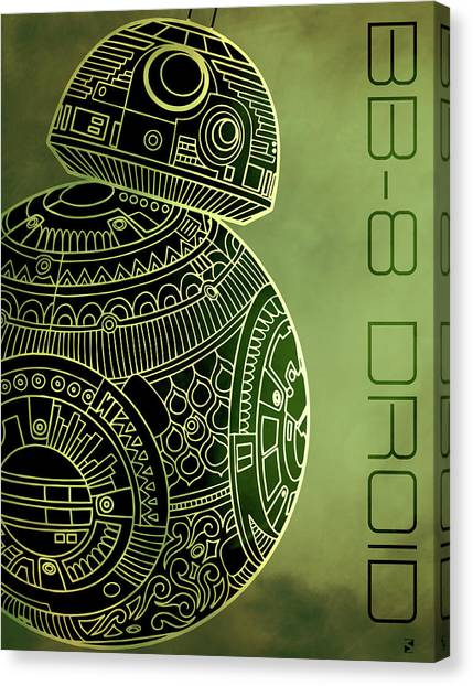 Droid Canvas Print - Bb8 Droid - Star Wars Art - Metallic by Studio Grafiikka