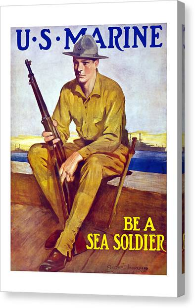 Marines Canvas Print - Be A Sea Soldier - Us Marine by War Is Hell Store