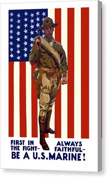 Ww1 Canvas Print - Be A Us Marine by War Is Hell Store
