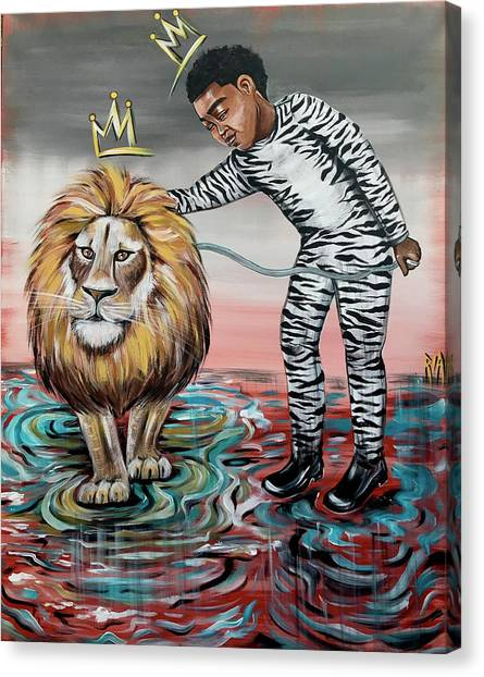 Lions Canvas Print - Be Courageous My Son by Artist RiA