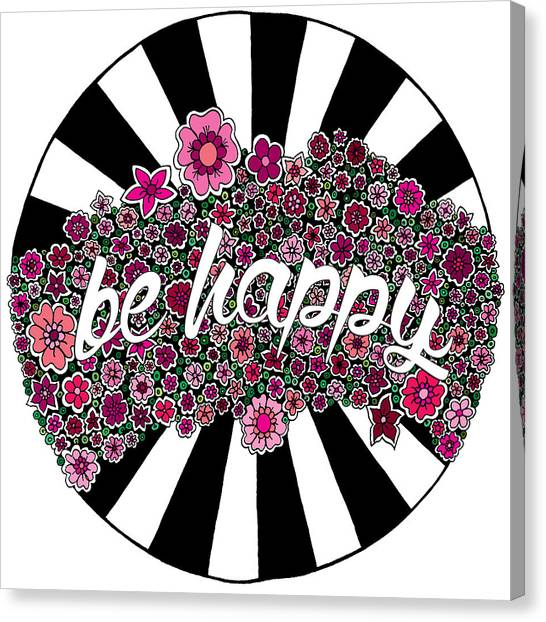 Black And White Canvas Print - Be Happy by Elizabeth Davis