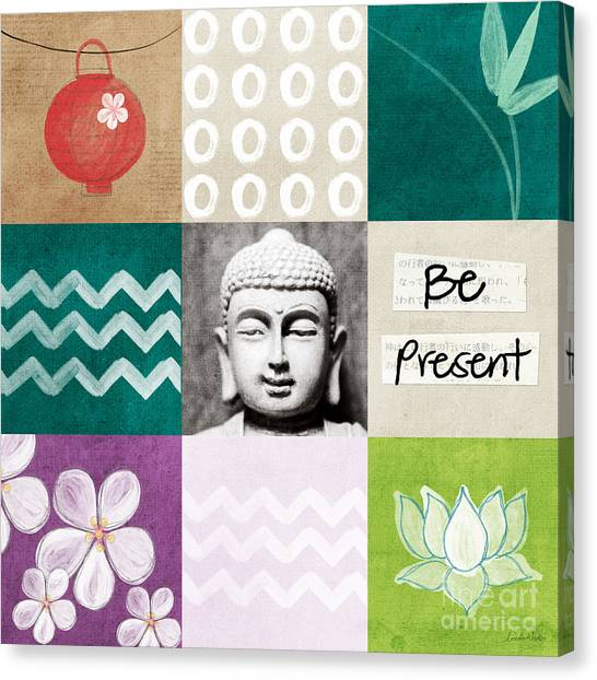Bamboo Canvas Print - Be Present by Linda Woods