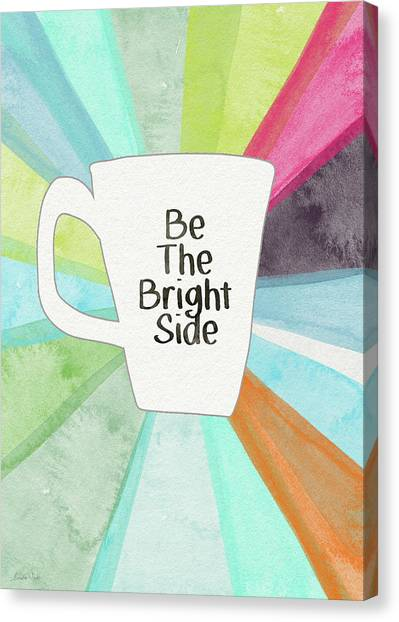 Tea Set Canvas Print - Be The Bright Side Mug- Art By Linda Woods by Linda Woods