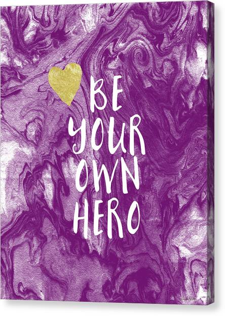 Books Canvas Print - Be Your Own Hero - Inspirational Art By Linda Woods by Linda Woods