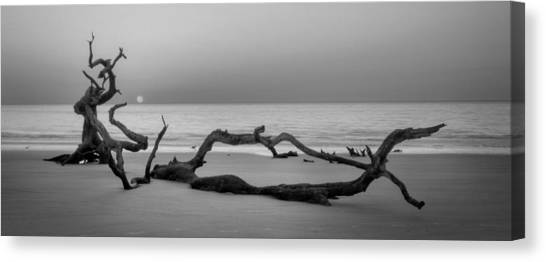 Beach Art Cropped In Black An White Canvas Print