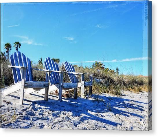 Adirondack Chair Canvas Print - Beach Art - Waiting For Friends - Sharon Cummings by Sharon Cummings