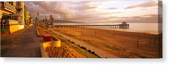 Volleyball Canvas Print - Beach At Dusk, Manhattan Beach, Los by Panoramic Images