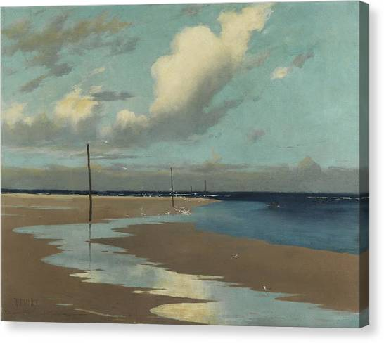 Low Tide Canvas Print - Beach At Low Tide by Frederick Milner
